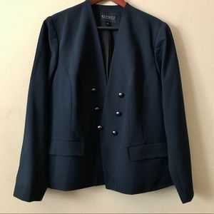 ELOQUII Double Breasted Open Front Black Blazer